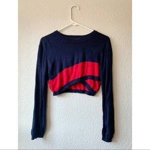 Dance & Marvel Navy Blue Red Cropped Sweater